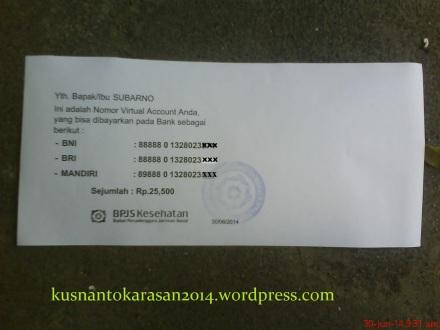 contoh kertas Nomor Virtual Account dari BPJS.