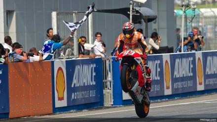 Marquez whellie merayakan kemenangan