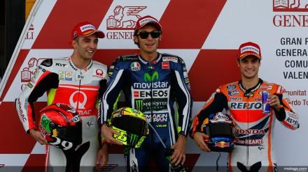 Tiga teratas qualifikasi MotoGP Valencia 2014, Rossi, Iannone, dan Pedrosa