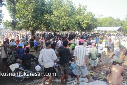 Ramainya warga di zona kambing Pasar Hewan Imogiri