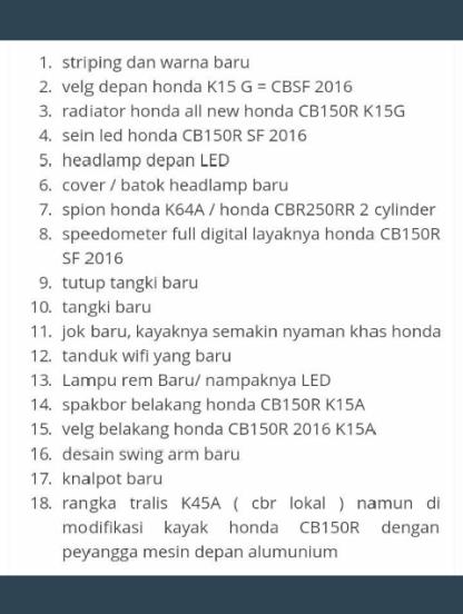 data all new Honda CBR 150R 2016