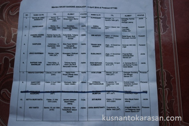 Daftar peserta nikah bareng Angkasa 2016