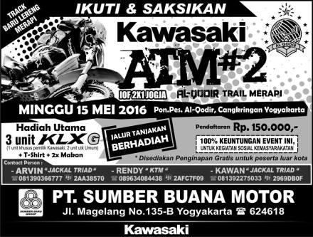 Brosur Kawasaki Al Qadir Trail Merapi - sumber akun facebook Kawasaki Jogja