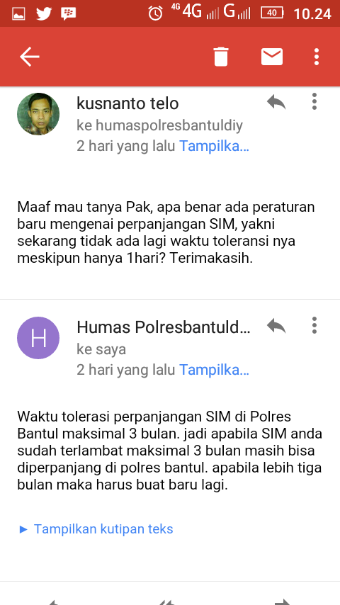 Surel/email dari humas Polres Bantul