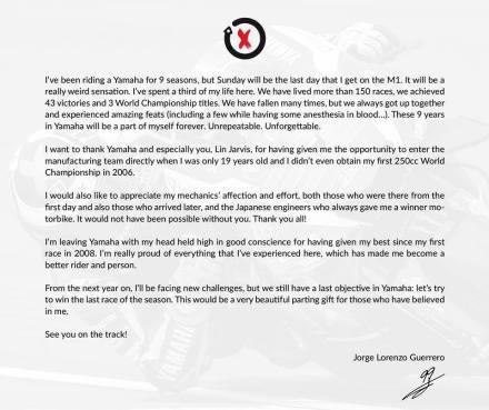 ucapan terimakasih dari Jorge Lorenzo ke Yamaha