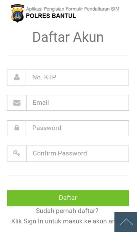 Halaman pendaftaran SIM Online