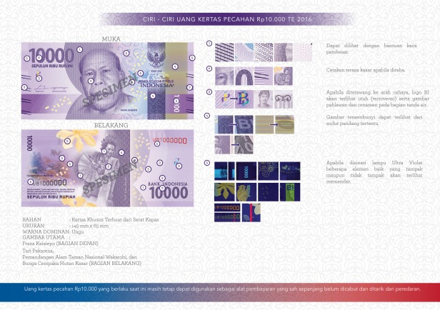 Ciri-ciri uang baru 10.000 te 2016