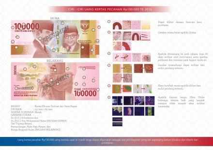 Ciri-ciri uang baru 100.000 rupiah te 2016