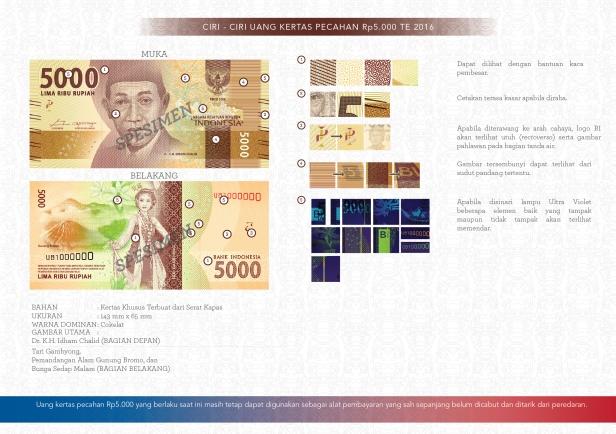 Ciri-ciri uang 5000 rupiah te 2016