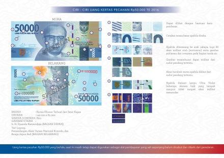 Ciri-ciri uang baru 50.000 te 2016