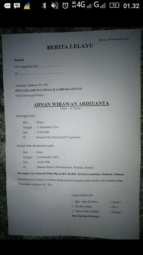 Nerita lelayu Adnan Wirawan salah satu korban siswa SMA Muh1 jogja korban kriminal sajam