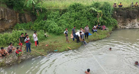 Situasi kolam bekas galian batu tempat tenggelamnya dua remaja pelajar MTs Wonokromo Pleret
