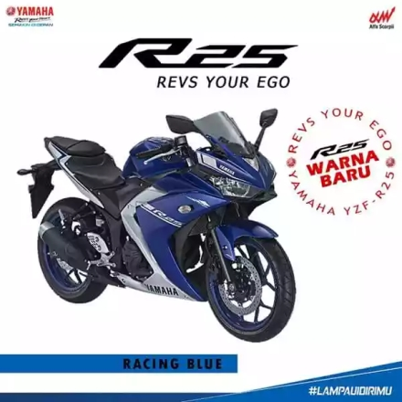 Yamaha R25 warna biru racing blue