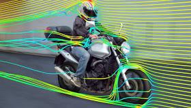 Pengambaran terpaan angin pada sepedamotor