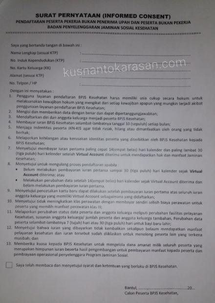 Surat Pernyataan (Informed Consent) pendaftaran BPJS Kesehatan mandiri