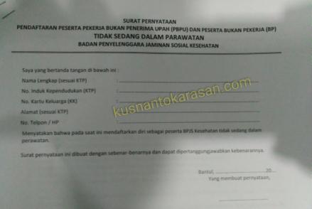 Surat pernyataan tidak sedang dalam perawatan bpjs kesehatan Bantul