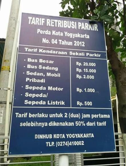 Tarif retribusi parkir oerda kota Yogyakarta no 04 tahun 2012