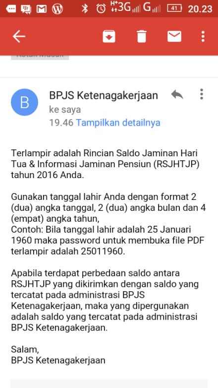 Email dari BPJS Ketenagakerjaan RSJHTJP 2016