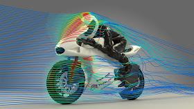 Penggambaran terpaan angin pada motor balap