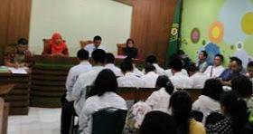Suasana sidang tertutup kasus pengeroyokan yang menewasksn Adnan Wirawan, pelajar SMA Muh1 Jogja