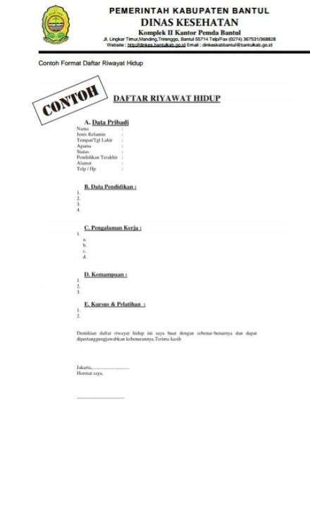 Contoh Daftar Riwayat Hidup Kusnantokarasan Com