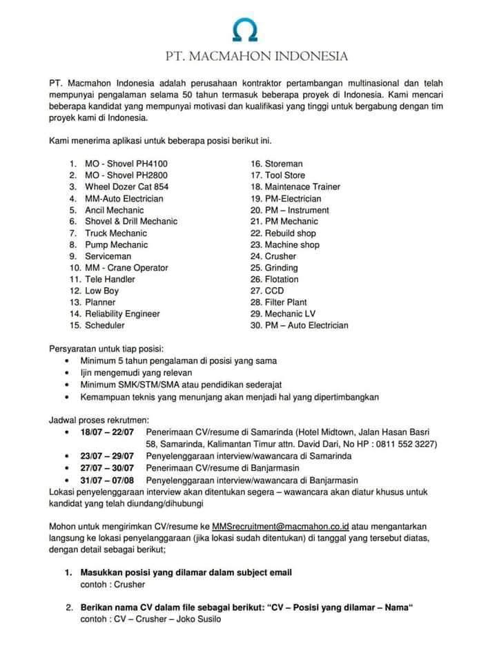 Lowongan Kerja 30 Posisi Pt Macmahon Indonesia Samarinda Kalimantan Timur Kusnantokarasan Com