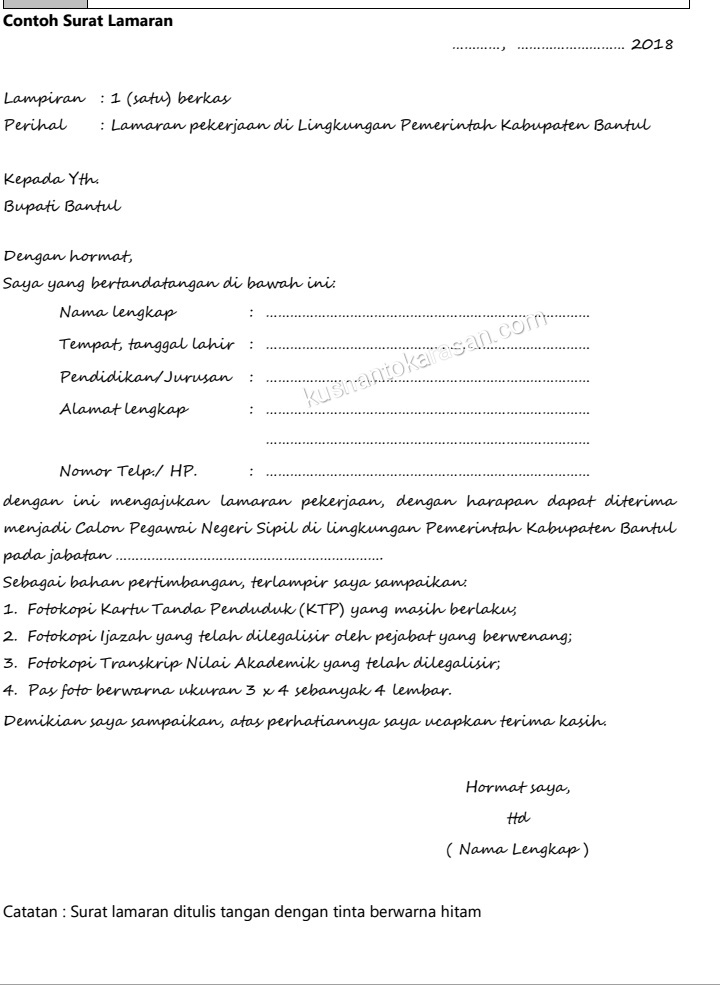 Contoh Surat Lamaran Pekerjaan Di Lingkungan Pemerintah